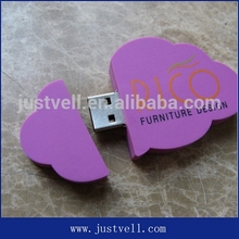 Cute design cloud shape usb flash drive, pvc usb flash drive, custom usb stick