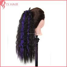 Synthetic hair drawstring ponytail , long curly hair ponytail hair extension