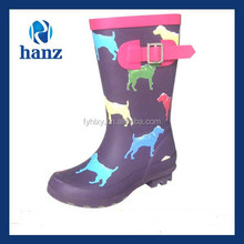 Hot new product purple waterproof rubber rain boots for kids with dog print