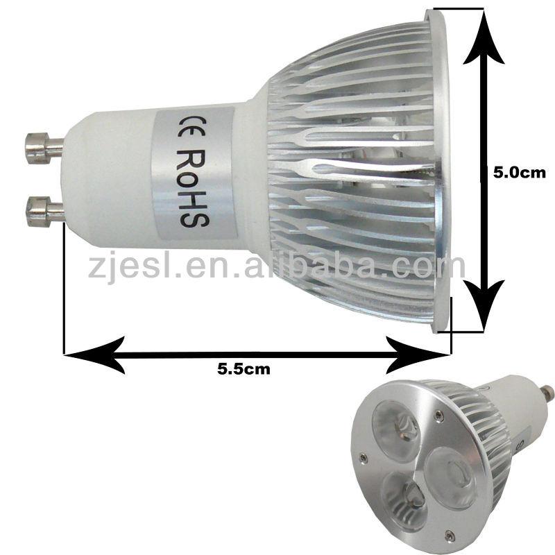 hecho en china plata carcasa de aluminio de alta potencia gu10 base 3x1w llevó la lámpara lugar