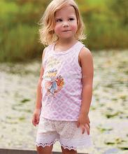 Summer Pink Lattice Parasol Tank White Lace Shorts Girls Suits Sleeveless Toddler Clothing Sets Child Wearing CS80817-12