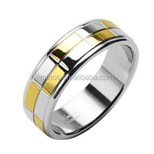 Spikes 316L Stainless Steel Successive Steel and Gold Ring
