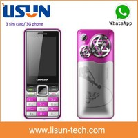 very cheap price bar design 2.4 inch small size 3G mobile phone With TV 3 sim card cell phone