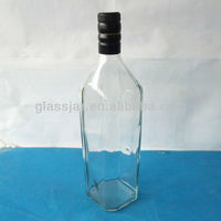 1L square whisky glass bottle with aluminum cap