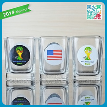 2014 World Cup Glass Shot Cup Promotional Decorative Glass Shot Cup with Logo flag glass shot
