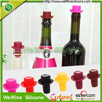 Silicone colorful thread glass whiskey bottle cork/ Silicone Red Wine bottle Caps