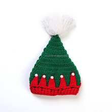 2015 Newest Newborn Baby Christmas Handmade Crochet Winter Hat Green Infant Toddler Winter Warm Hats and Caps
