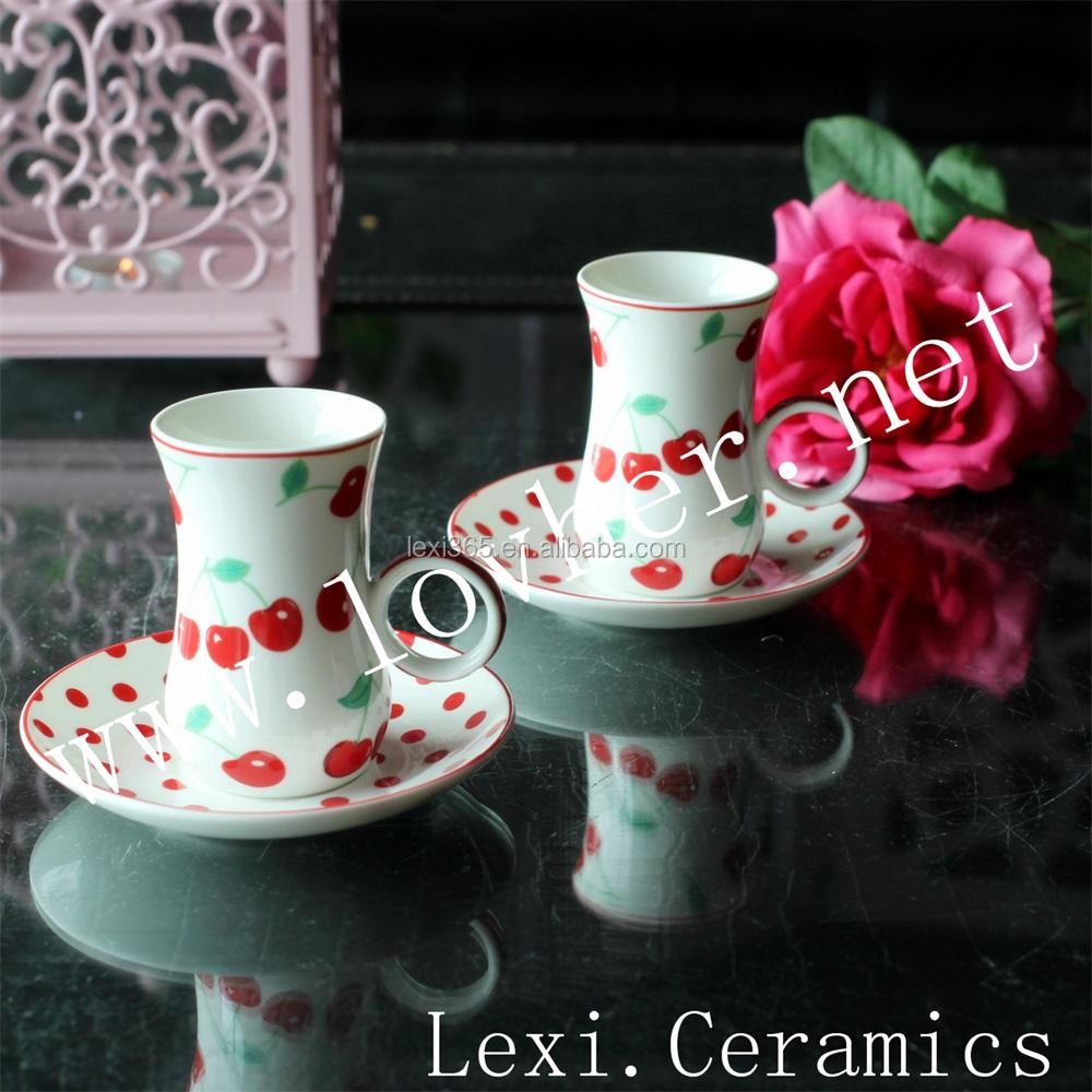 Turco Tazza da Tè Piattino Set, In Ceramica Tazza di Caffè E Piattino Per Il Tè del Pomeriggio, Festa, Celebrazione