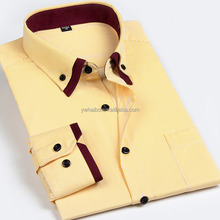 yellow stripe button down casual office dress shirt of men