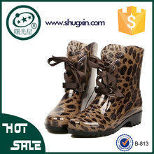 European and American fashion leopard waterproof boots shoes four seasons snow and rain B-813