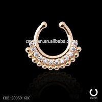 New Arrival Gold Plated Indian Septum Piercing Tribal Brass Indian Fake Free Nose Rings