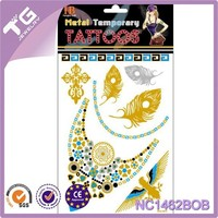 Feather Eagle Custom Flashing Gold Tattoo,Water Transfer Temporary Tattoo Stickers,Gold And Silver Temporary Tattoo