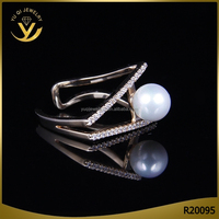 unique latest design real gold plated silver jewelry new pearl finger ring