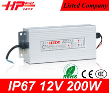 waterproof led power supply factory latest customized led smps constant voltage 200w waterproof led driver ip67