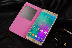 Hot selling cheap pu leather case cover with window viewing for samsung galaxy note 5