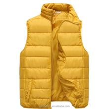 2015 western women fashion yellow shiny printed puffy duck down vest