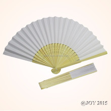 Foldable decorative white solid color Paper Hand Fan 21*37cm with 23pcs of bamboo ribs for wedding invitation promotion gift
