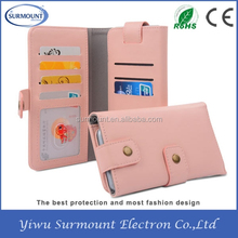 Wholesale Yiwu Supplier Flip Wallet PU Leather Smart Phone Cover Case for Mobile Phone