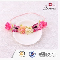 Fashion pink flower bridal hairband for wedding hair accessories