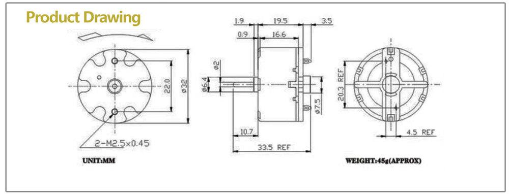 BDTF 1W DC electrical motor