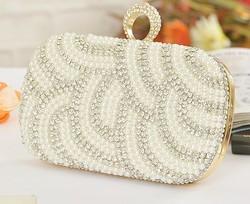 Best Price! Fashion Women's Finger Ring Imitation Pearls+Diamond Clutch Purse/Handbag Gorgeous Wedding Party Bridal Chain Bag