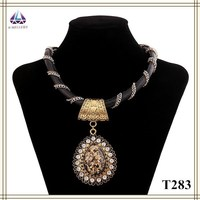 India Jewellery Manufacturing Teardrop Shape Pendant Necklace With Crystal