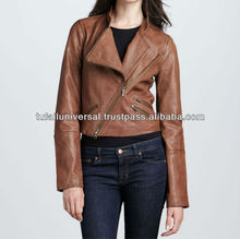 2012 fashion hotsale spring/fall design short women leather jacket