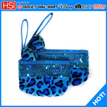 sequins and plush leopard pencil cases fpr teemage girls