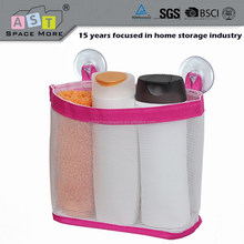 Bathroom hanging storage basket with suction cup