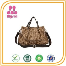 Fancy Fashion Lady Leopard Tote Handle Bag Italy 2014 Designer Handbags with Bright Mild Steel Link Iron Chain