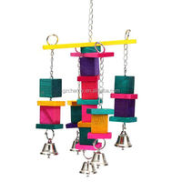 Wooden Bird Parrot Cockatiel Swing Climbing Toys Colorful Cage Cube Blocks Bell Bird Sports Supplies