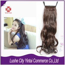Alibaba Wholesale Bridal Warp clip pony tail/ Top Quality Luxury Honest 100% Hair Clip on pony tail Hair Extension