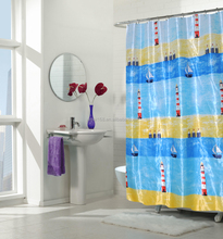Fabric shower curtain with 12 metal eyelets/ polyester fabric window shower curtain /180x200cm durable textile shower curtain