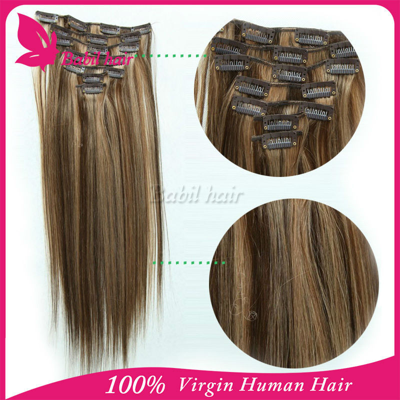 Artificial Vagina Double Weft Clip In Human Hair Extensions Brown