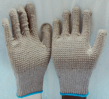 The working garden gloves with polycotton knitted pvc dots