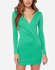 CHEFON Long fitted sleeve padded shoulder wrap front green wrap dress