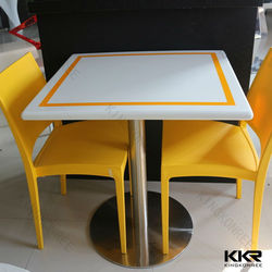Texture pattern solid surface short leg dining table