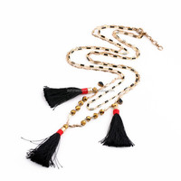 2015 Fashion Summer jewelry black tassels&gold beads long necklace metal double layered chain pendant necklace