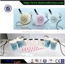 Plastic Coffee Cup, PVC Food Pendant, Plastic Starbucks Keychain