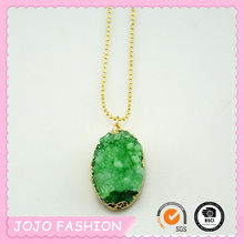 Crazy Hot Green Natural Fluorite Stone Pendant Gold Erged Chain Necklace/