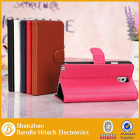 Hottest lichi grains flip type PU leather Case for Samsung Galaxy Note 3 with stand