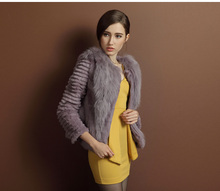 2014 Fashion Rabbit Fur With Sheep Fur Collar/Wholesale And Retail