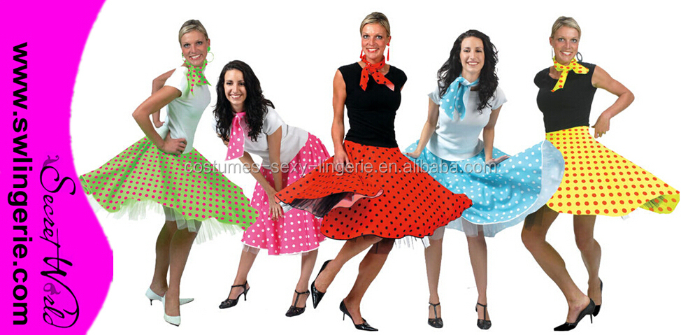 rock and roll polka dot gonna donne 1950 grasso jive signore costume costume c633