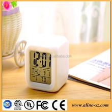 LED Color Changing Digital Cube Alarm Clock