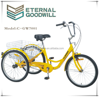 NY-GW7001-6SP 24 inch three wheel adult pedal tricycle trike electric/trike frame bike/electric tricycle for adults