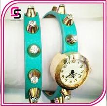 Latest bracelet watch with genuine leather band/dimond lady wrist wat