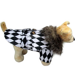Dog Clothes Checkerboard Black & White Fashional Bamboo Hat Dog Overcoat
