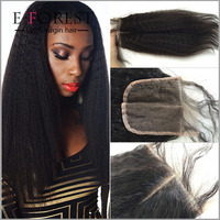 7A Peruvian Kinky Straight Closure Free Middle 3 Part Virgin Human Hair Top Lace Closure Bleached Knots Lace Front Closure Piece