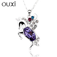 OUXI meaningful pendant necklace 18k gold fashion teen girls necklace