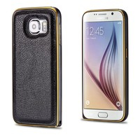 universal leather case for mobile phone aluminum metal bumper case with leather backboard for samsung galaxy S6 edge
